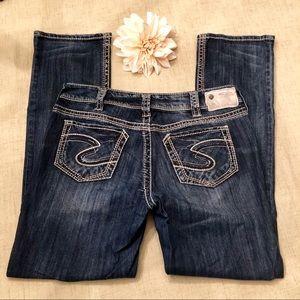 Silver Suki Straight Leg Stretchy Dark Wash Jeans
